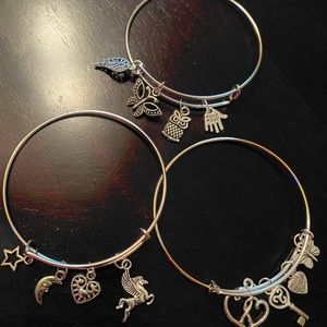 Silver bracelets with charms